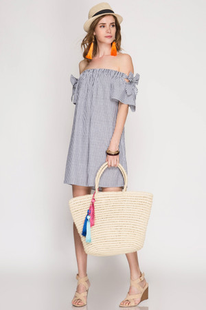 OFF THE SHOULDER STRIPED SHIFT DRESS WITH SLEEVE TIES