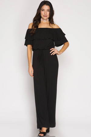 RUFFLED SLEEVE OFF SHOULDER JUMPSUIT