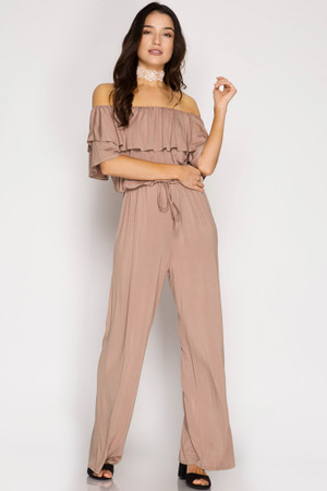 MOCHA RUFFLED SLEEVE OFF THE SHOULDER JUMPSUIT ( SOLD OUT)