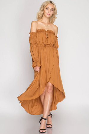 CARAMEL LONG SLEEVE OFF SHOULDER MAXI DRESS