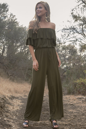 OLIVE RUFFLED SLEEVE OFF THE SHOULDER JUMPSUIT ( PRE-ORDER)