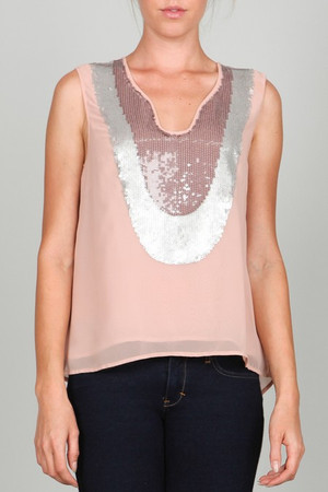 Hi-Lo Salmon Sheer Sequin Metallic Sleeveless Top Ark & Co