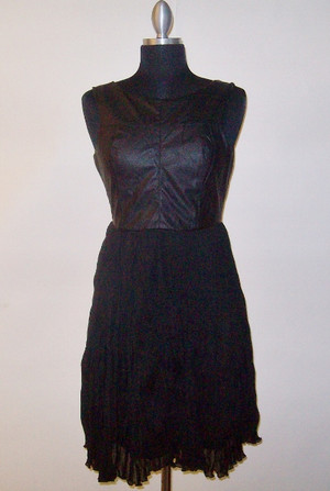Contrast Leather Faux Dress Black Ark & Co