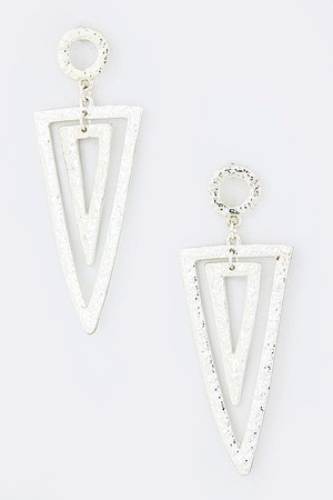 SILVER HAMMERED UPSIDE TRIANGLE EARRINGS