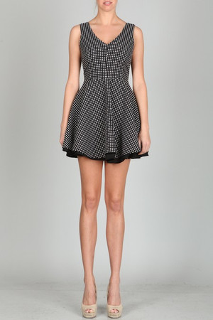 Black And White V Back Polka Dot Dress Ark & Co