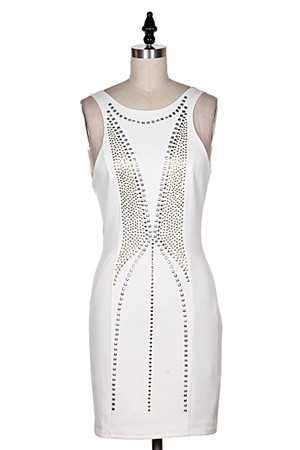 Stud Scuba Dress Off White