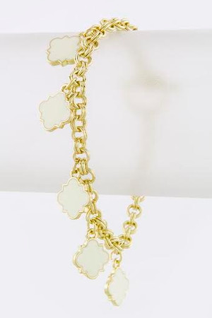 SQUARE CHARM CHAIN BRACELET WHITE & GOLD
