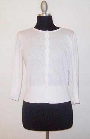 Round Neck Cardigan Sweater White