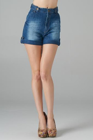 High Waisted Faded Denim Shorts