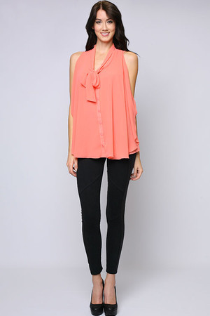 Sleeveless Button Down Coral Top Ya Los Angeles