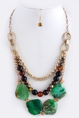 MIX NATURAL GEM TIERED NECKLACE SET GREEN GOLD