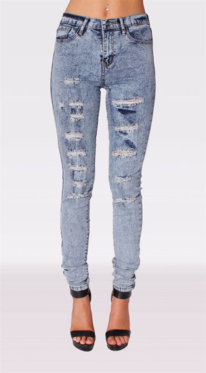 High Waist Distress Jeans