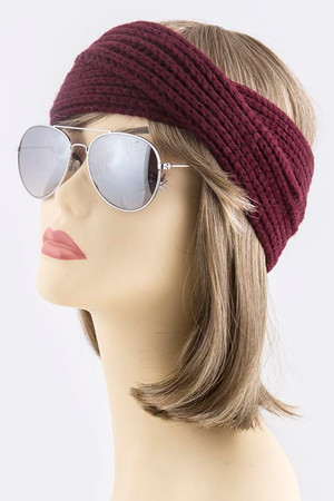 CROSSOVER DESIGN KNIT HEADWRAP