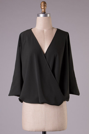 Wrap Quarter Top Black