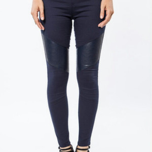 Off Duty Legging w/Leather Panel Navy