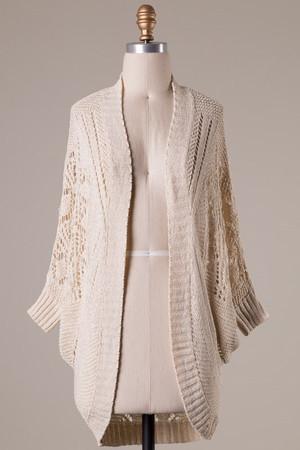 Quarter Sleeve Kimono Crochet Sweater Beige