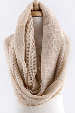 EARTHY TONE SOLID COLOR INFINITY SCARF OATMEAL