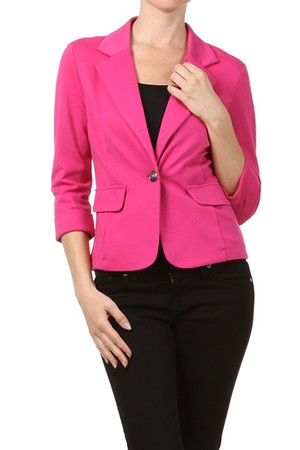 Mustard & Fuchsai Single Button Blazer by Iris