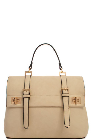 2in1 Fashion Designer Satchel Bag with Long Strap Off White