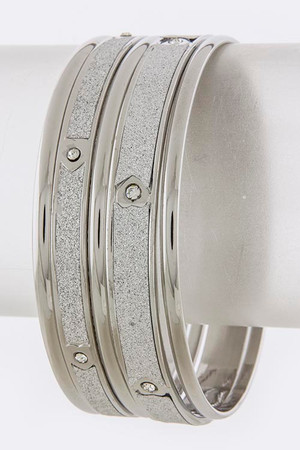 SANDING FIVE BANGLE SET SILVER