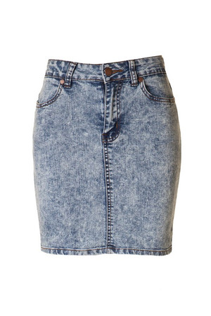 High Waisted Acid Denim Skirt