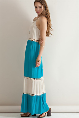 Color Block Halter Maxi Dress