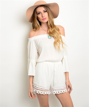 Off the Shoulder White Lace Romper
