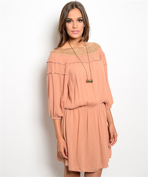 DUSTY PEACH DRESS TUNIC DRESS