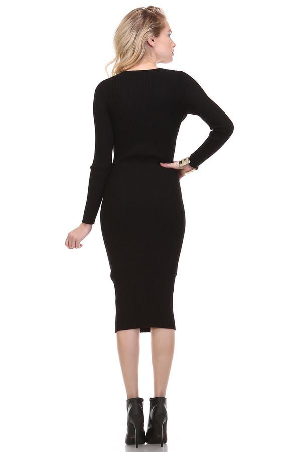Bodycon Knit Black Dress