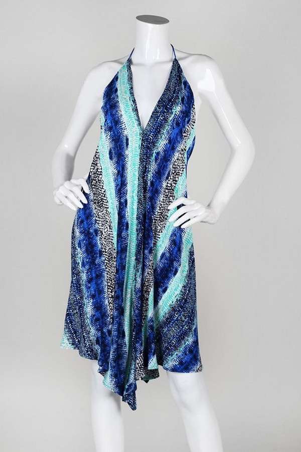 BLUE/GREEN SNAKE PRINT HANDKERCHIEF DRESS