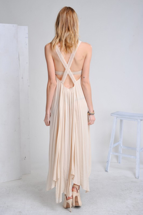 HI-LO MAXI DRESS WITH DETAIL CREAM