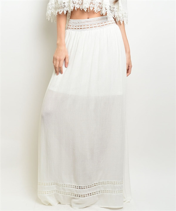 Detail Maxi Off White Skirt