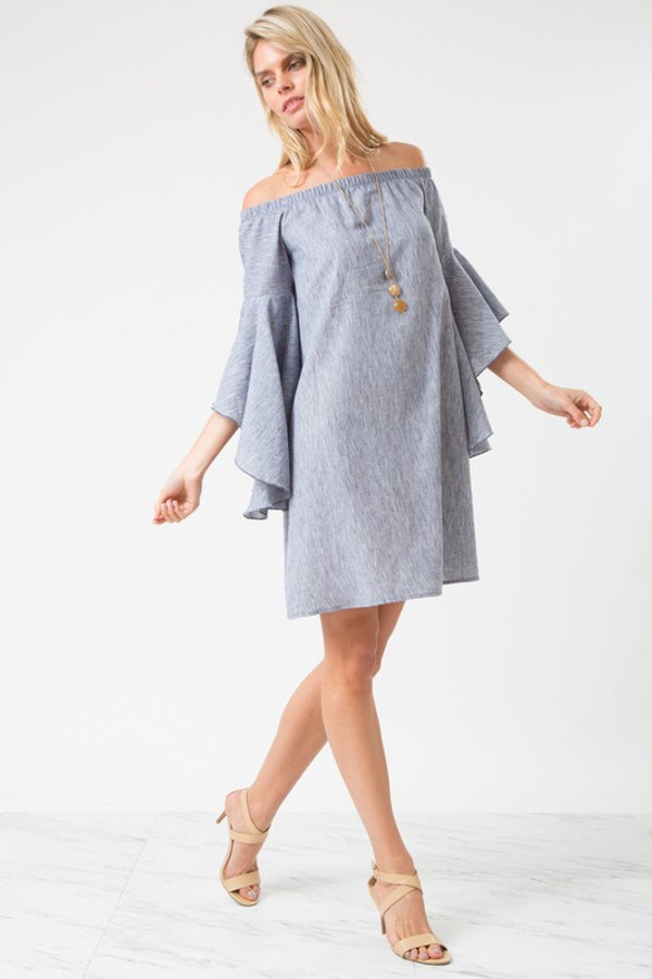 HI-LOW BELL SLEEVE OFF SHOULDER DRESS