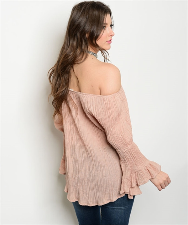 DUSTY BLUSH OFF THE SHOULDER TOP