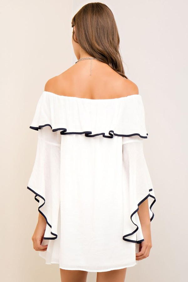OFF THE SHOULDER DRESS WITH CASCADE SLEEVES