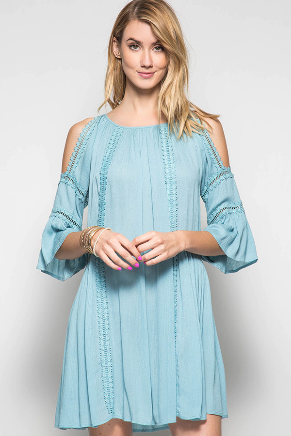 3/4 COLD SHOULDER DRESS
