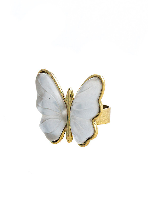 IRIDESCENT ETCHED BUTTERFLY RING
