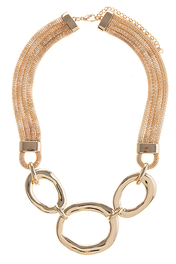 POLISHED RING MESH CHAIN NECKLACE SET