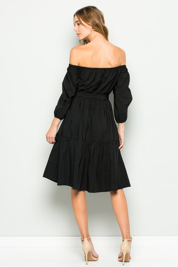 OFF THE SHOULDER DRESS BOW TIE WAIST