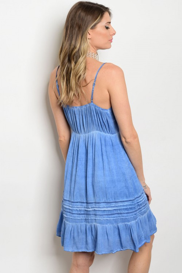 BLUE MINERAL WASHED DRESS