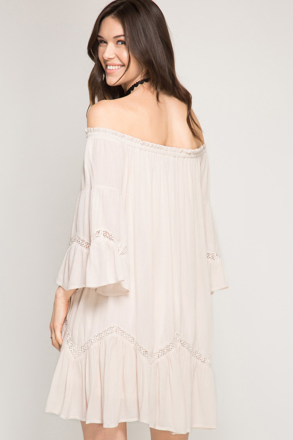 3/4 BELL SLEEVE OFF SHOULDER SWING DRESS