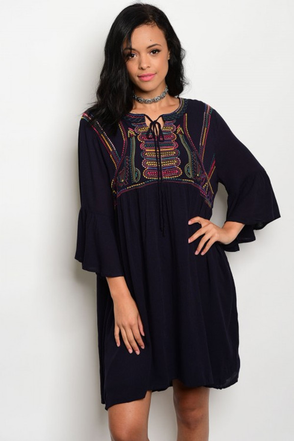 NAVY BOHEMIAN TUNIC DRESS