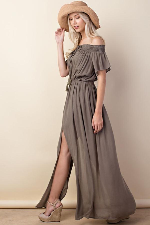 OLIVE FRONT SLIT MAXI DRESS