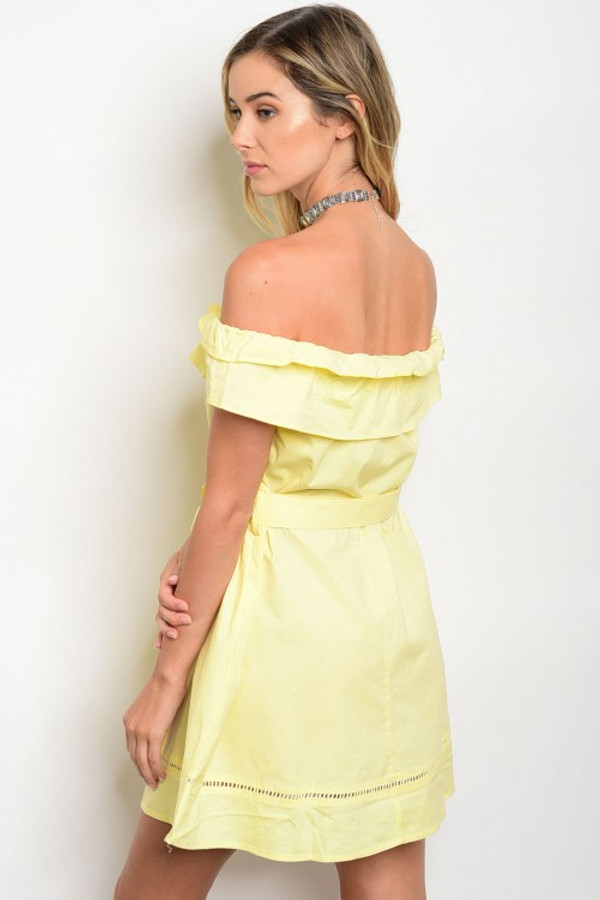OFF THE SHOULDER YELLOW MINI DRESS