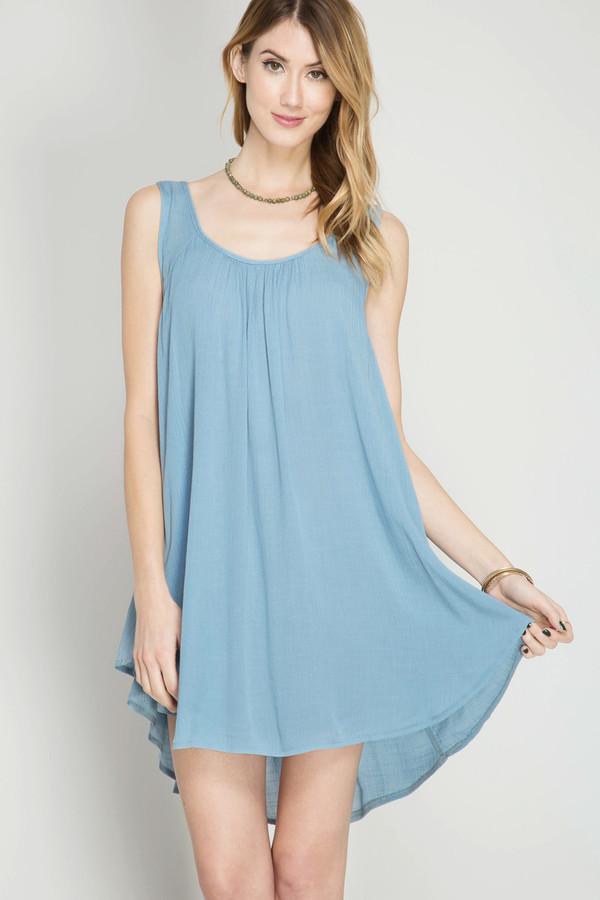 VINTAGE BLUE SLEEVELESS SHIFT DRESS WITH SIDE OVERLAP HEMLINE