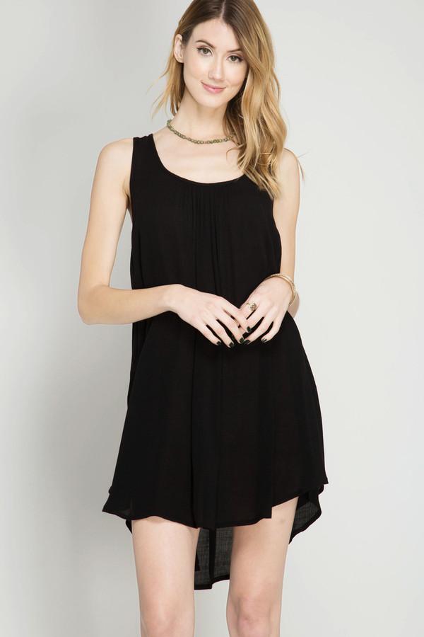 BLACK SLEEVELESS SHIFT DRESS WITH SIDE OVERLAP HEMLINE