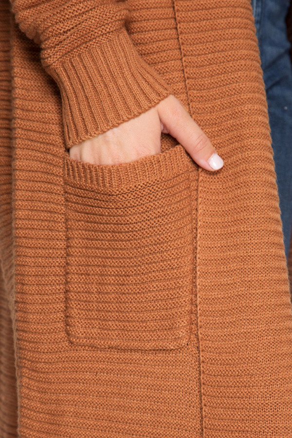 LONG SLEEVE RIBBED SWEATER DUSTER WITH POCKETS