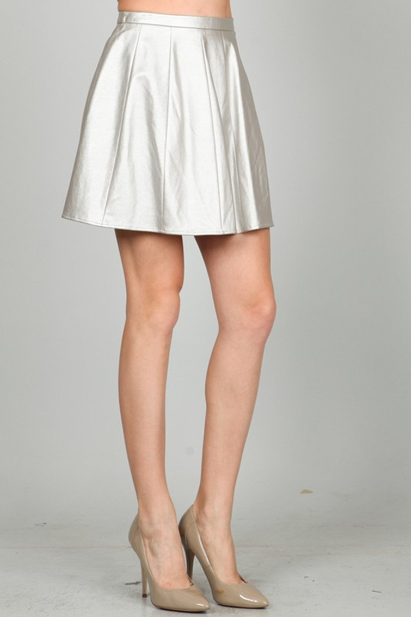 Silver Metallic Leather Skirt Ark & Co