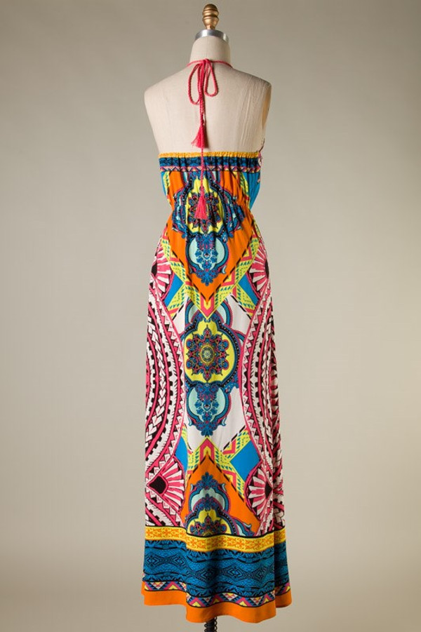 Tribal Print Halter Top Maxi Dress