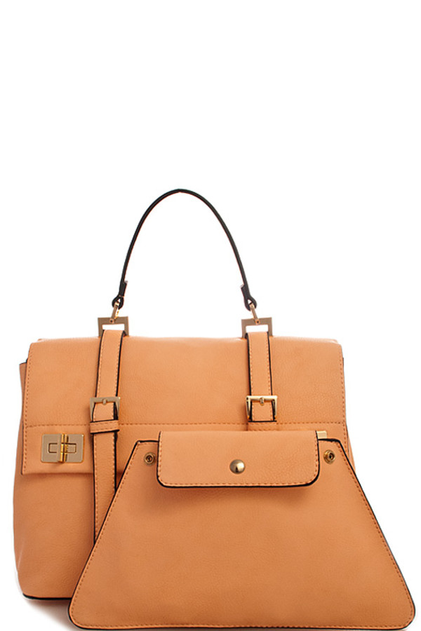 2in1 Fashion Designer Satchel Bag with Long Strap Orange